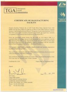 TGA сертификат NSP